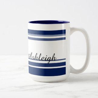Blue and White Stripes Two-Tone Mug