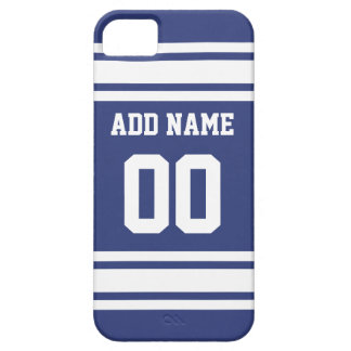 Blue and White Stripes with Name and Number Barely There iPhone 5 Case