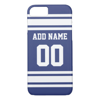 Blue and White Stripes with Name and Number iPhone 8/7 Case
