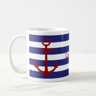 Blue and White Stripes with Red Anchor Basic White Mug