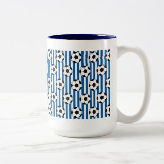 Blue and White Stripes with Soccer Balls Two-Tone Mug