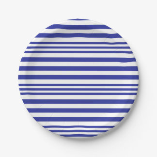 Blue and White Stripes X 3 Paper Plate