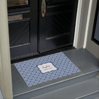 Blue and White stylish damask personalised Doormat