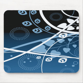 Blue and White Swirling Vines Mousepad