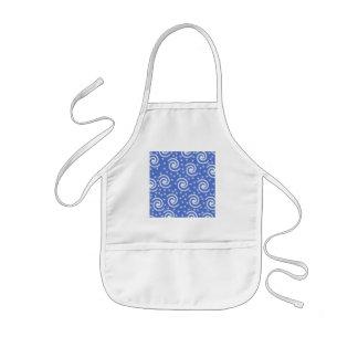 Blue and white swirls and dots pattern. kids' apron