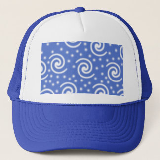 Blue and white swirls and dots pattern. trucker hat