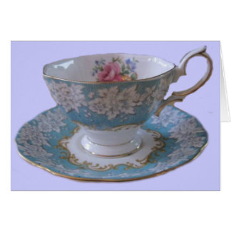 Blue and White Tea Cup and Saucer Note Card