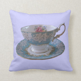 Blue and White Tea Cup and Saucer Pillow Throw Cushion