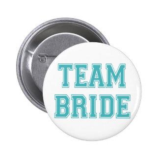 Blue and White Team Bride 6 Cm Round Badge
