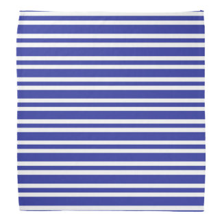 Blue and White Thick and Thin Stripes Bandana