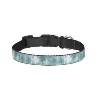 Blue and White Trees Pet Collar