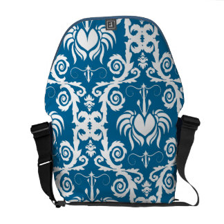 Blue and White Tulip Damask Commuter Bag