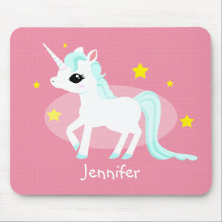 Blue and white Unicorn stars customisable Mouse Mat