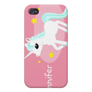 Blue and white Unicorn stars Customise Cover For iPhone 4