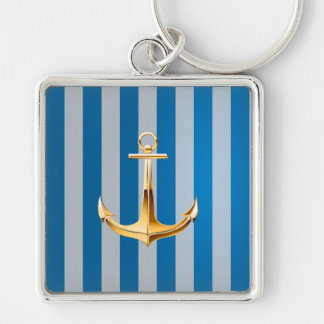 Blue and White  Vertical Lines and Gold Anchor Silver-Colored Square Keychain