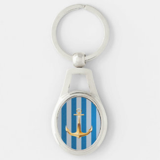 Blue and White  Vertical Lines and Gold Anchor Silver-Colored Oval Keychain