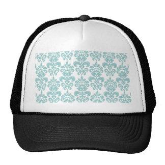 Blue and White Vintage Damask Pattern 2 Hats
