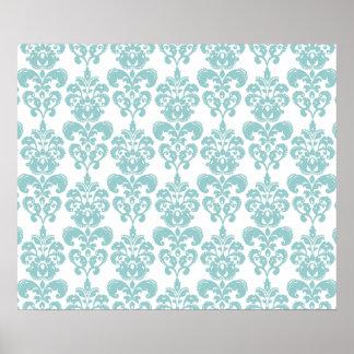 Blue and White Vintage Damask Pattern 2 Print