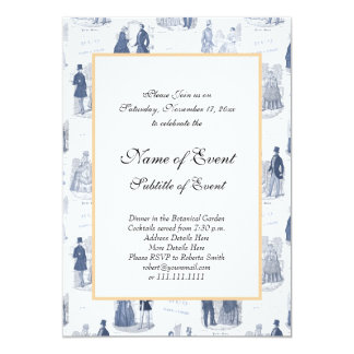 Blue and White Vintage Fashion French Toile Card