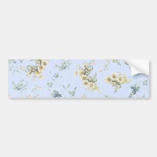 Blue and white vintage floral print bumper sticker