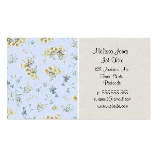 Blue and white vintage floral print business card template