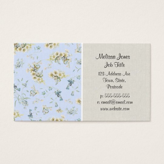Blue and white vintage floral print business card