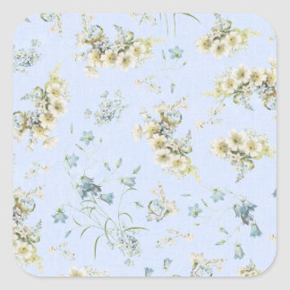 Blue and white vintage floral print square sticker