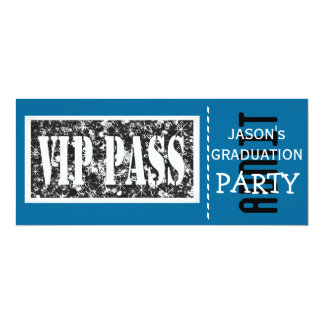 Blue and white VIP Graduation party 10 Cm X 24 Cm Invitation Card