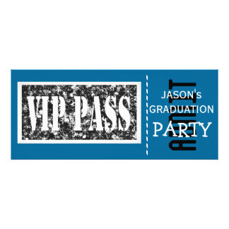 Blue and white VIP Graduation party Personalized Invites