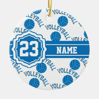 Blue and White Volleyball Christmas Ornament
