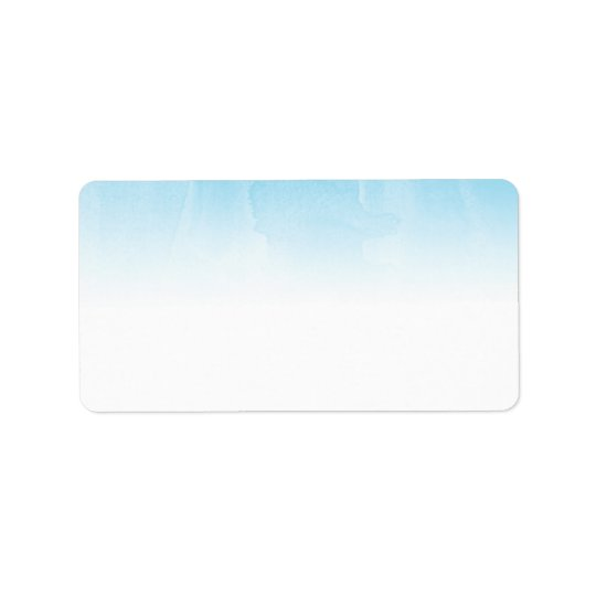 Blue and White Watercolor Ombre Blank Address Label