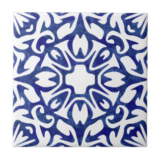 Blue and White Watercolor Spanish Pattern Small Square Tile