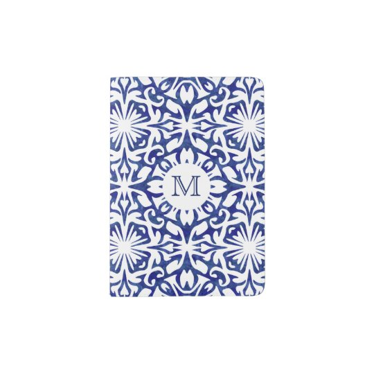 Blue and White Watercolor Spanish Tile Monogram Passport