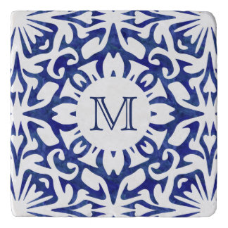 Blue and White Watercolor Spanish Tile Monogram Trivet