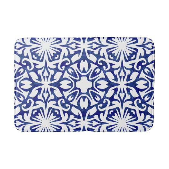 Blue and White Watercolor Spanish Tile Pattern Bath