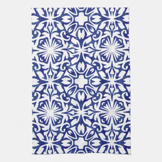 Blue and White Watercolor Spanish Tile Pattern Tea
