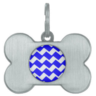 Blue and White Wavy Chevrons Pet Name Tag