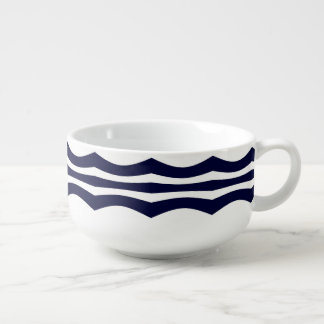 Blue And White Wavy Stripes Retro Pattern Soup Mug