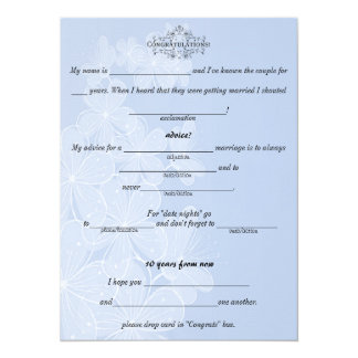 Blue and White, Wedding Advice, Comment Cards.