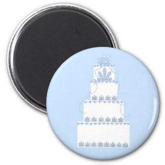 Blue and White Wedding Cake Magnet