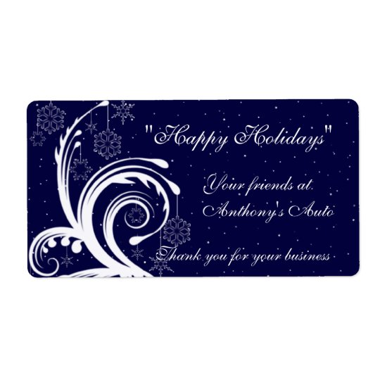 Blue and White Wedding,  Happy Holidays Wine Label Shipping Label