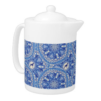 BLUE AND WHITE WEIM MEDIUM TEAPOT BY BLU WEIM