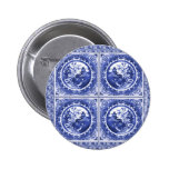 Blue and white, willow pattern design 6 cm round badge
