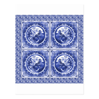 Blue and white, willow pattern design postcard