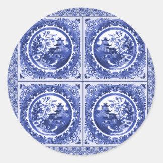 Blue and white, willow pattern design round sticker