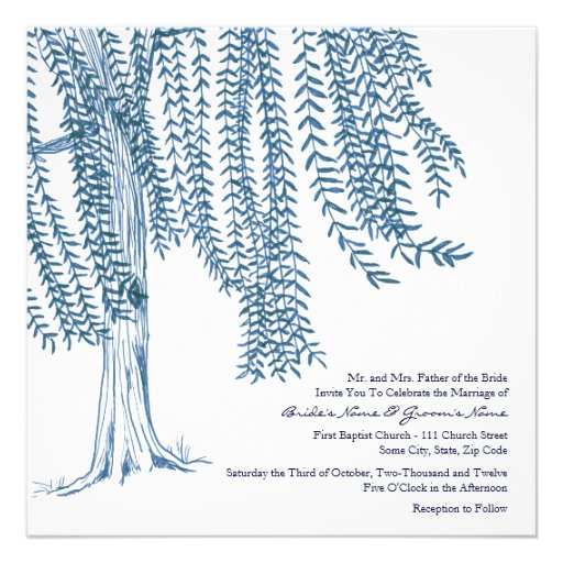 Blue and White Willow Tree Wedding Invitation