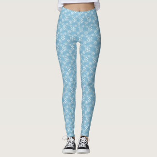 Blue and White Winter Snowflakes Leggings