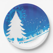 BLUE AND WHITE WINTER THEME 9 INCH PAPER PLATE