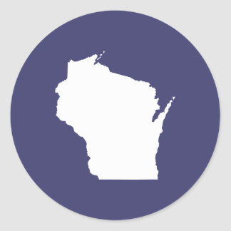 Blue and White Wisconsin Classic Round Sticker