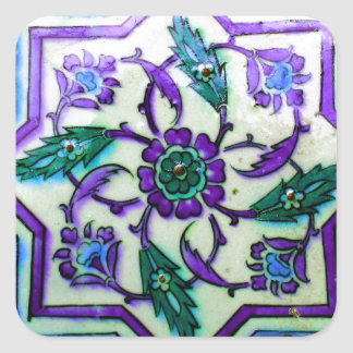 Blue and White with hints of Purple Iznik tile Square Sticker